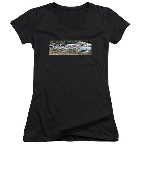 Old Car Graveyard Women's V-Neck