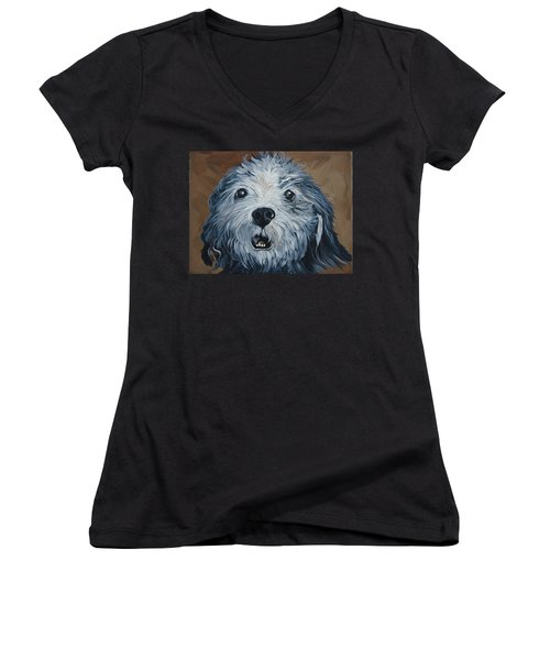 Old Dogs Are The Best Dogs Women's V-Neck T-Shirt (Junior Cut) by Leslie Manley