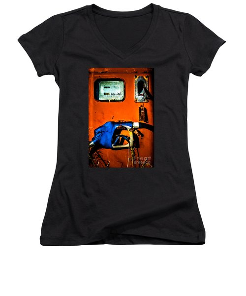 Old Farm Gas Pump Women's V-Neck (Athletic Fit)