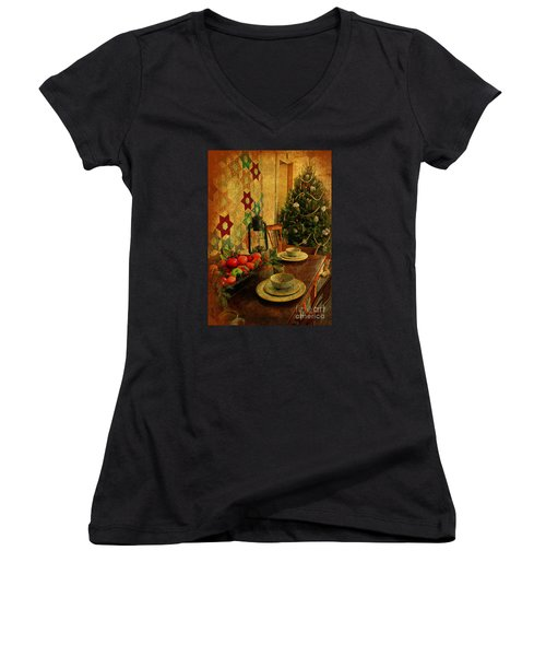 Women's V-Neck T-Shirt (Junior Cut) featuring the photograph Old Fashion Christmas At Atalaya by Kathy Baccari