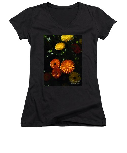 Old-fashioned Marigolds Women's V-Neck T-Shirt (Junior Cut) by Martin Howard