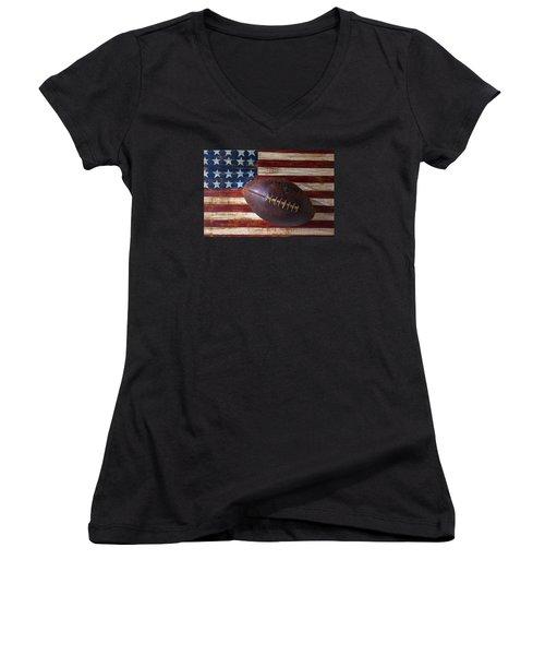 Old Football On American Flag Women's V-Neck T-Shirt (Junior Cut) by Garry Gay