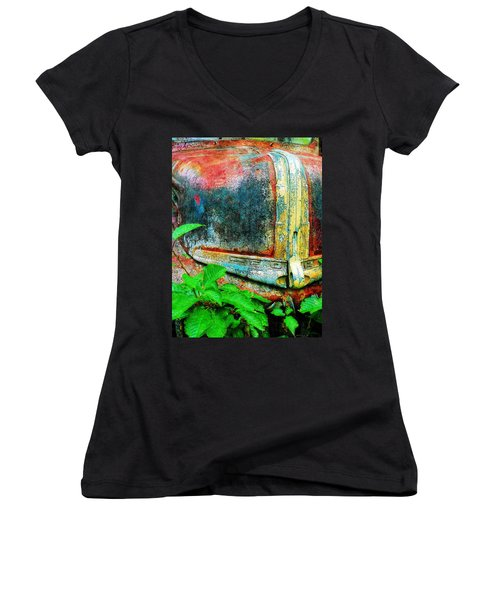 Old Ford #1 Women's V-Neck T-Shirt (Junior Cut) by Sandy MacGowan