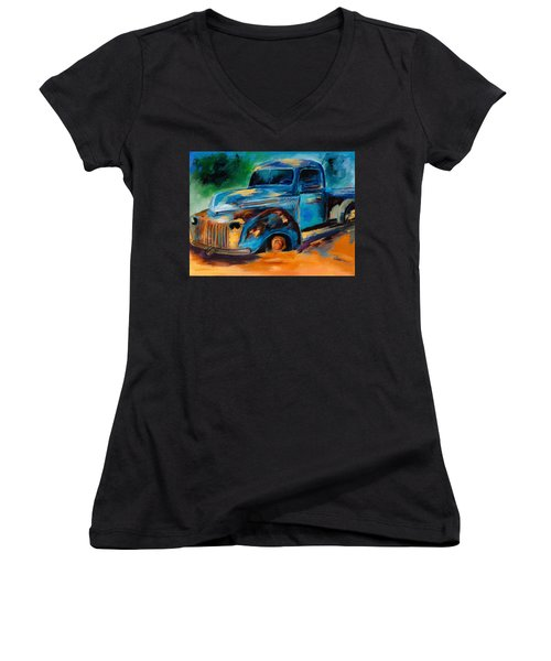 Old Ford In The Back Of The Field Women's V-Neck (Athletic Fit)