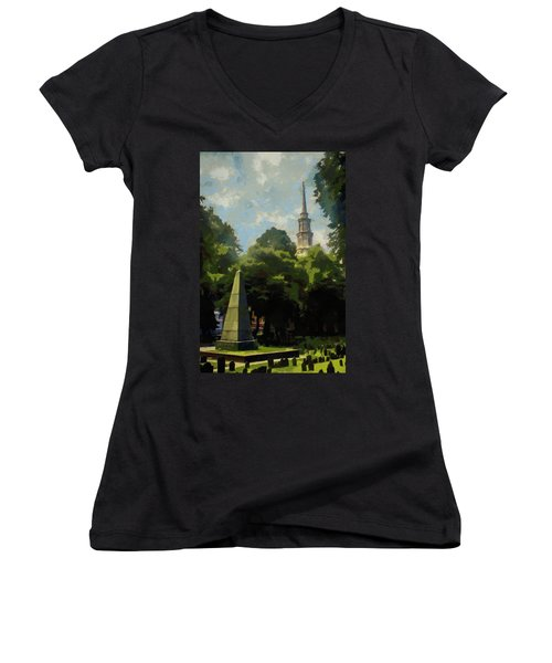 Old Granery Burying Ground Women's V-Neck T-Shirt (Junior Cut) by Jeff Kolker