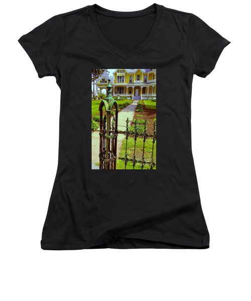 Women's V-Neck T-Shirt (Junior Cut) featuring the photograph Old Green Wrought Iron Gate by Becky Lupe