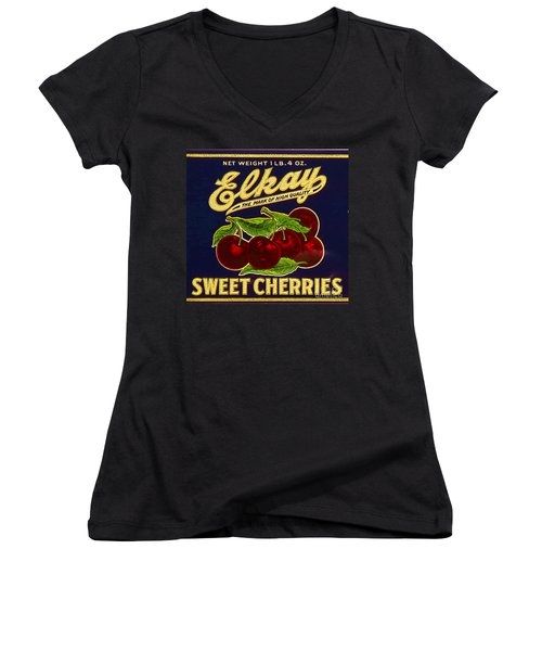 Cherries Antique Food Package Label Women's V-Neck (Athletic Fit)