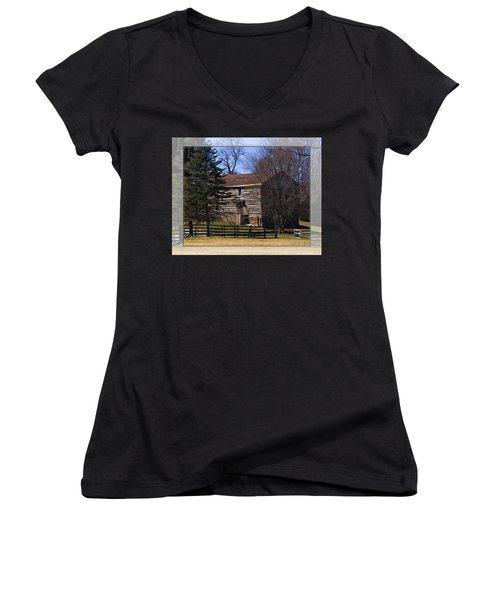 Old Log Home Women's V-Neck T-Shirt