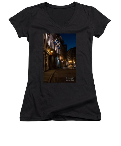 Old Montreal At Night Women's V-Neck T-Shirt (Junior Cut) by Cheryl Baxter