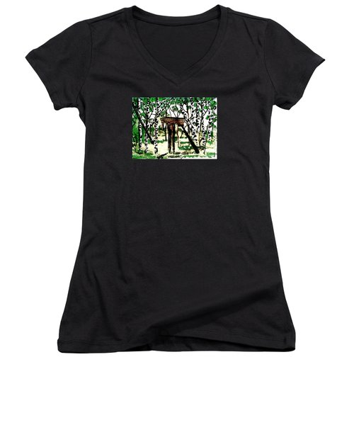 Old Obstacles Women's V-Neck T-Shirt (Junior Cut) by Denise Tomasura