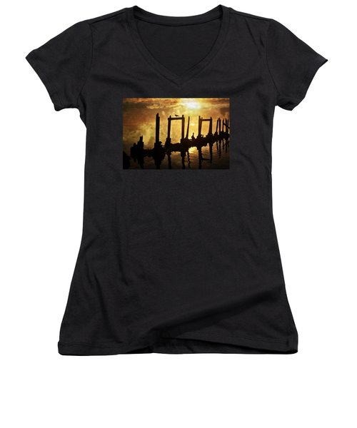 Women's V-Neck T-Shirt (Junior Cut) featuring the photograph Old Pier At Sunset by Marty Koch