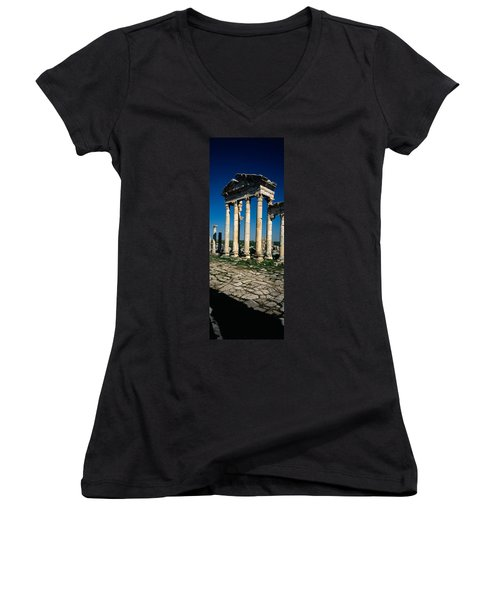 Old Ruins Of A Built Structure Women's V-Neck