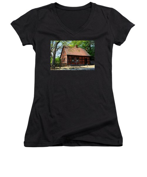 Old Salem Scene 3 Women's V-Neck T-Shirt (Junior Cut) by Kathryn Meyer