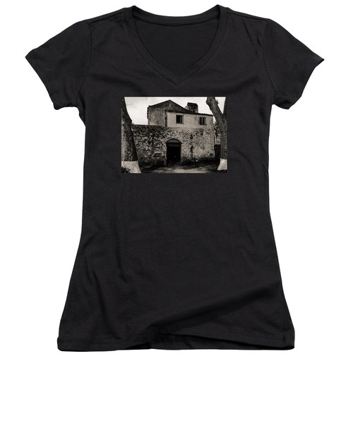 Old Stone House And Wall  Women's V-Neck T-Shirt