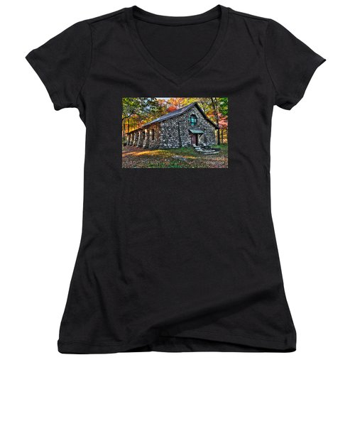 Old Stone Lodge Women's V-Neck T-Shirt (Junior Cut) by Anthony Sacco