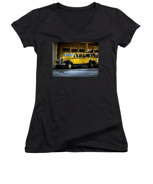 Old Time Yellowstone Bus II Women's V-Neck T-Shirt