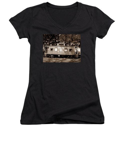 Women's V-Neck T-Shirt (Junior Cut) featuring the photograph Old Timer by Sara  Raber