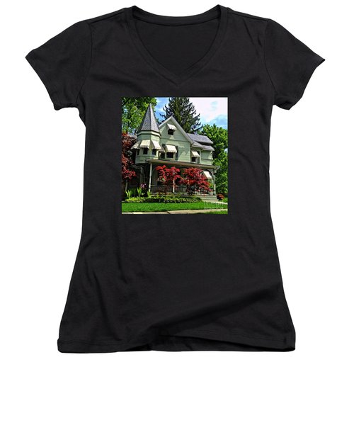 Women's V-Neck T-Shirt (Junior Cut) featuring the photograph Old Victorian With Awnings by Becky Lupe