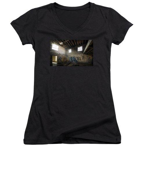 Old Warehouse Interior Women's V-Neck T-Shirt (Junior Cut) by Scott Norris