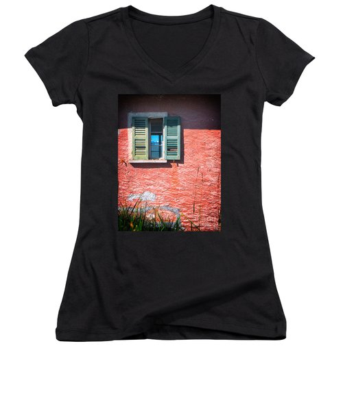 Women's V-Neck T-Shirt (Junior Cut) featuring the photograph Old Window With Reflection by Silvia Ganora