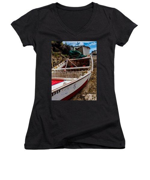 Old Wooden Fishing Boat On Dock  Women's V-Neck