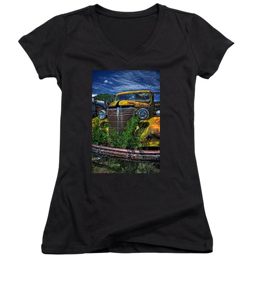 Women's V-Neck T-Shirt (Junior Cut) featuring the photograph Old Yeller by Ken Smith