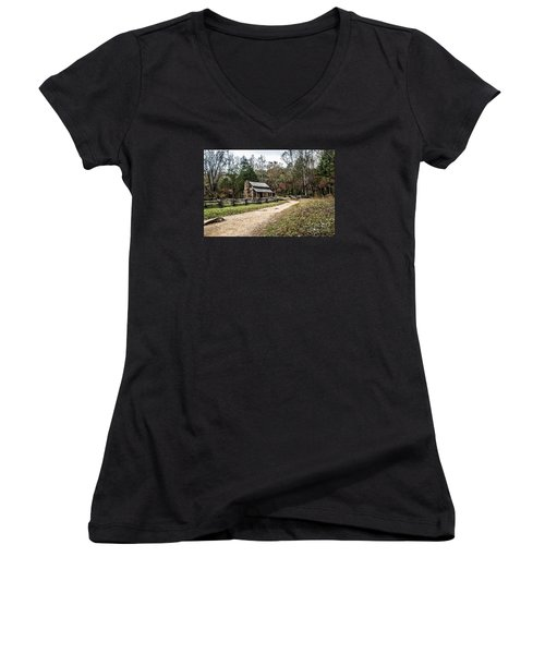Women's V-Neck T-Shirt (Junior Cut) featuring the photograph Oliver's Log Cabin by Debbie Green