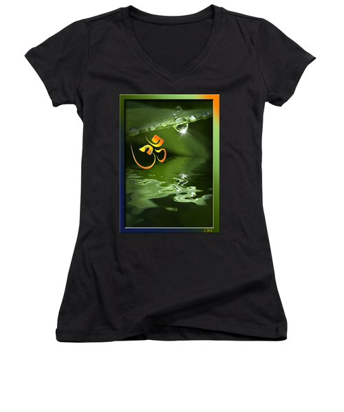 Women's V-Neck T-Shirt (Junior Cut) featuring the mixed media Om On Green With Dew Drop by Peter v Quenter
