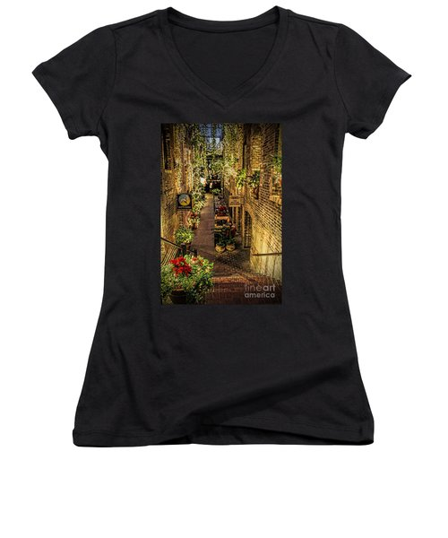 Omaha's Old Market Passageway Women's V-Neck T-Shirt (Junior Cut) by Elizabeth Winter