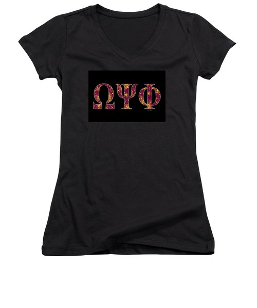 Omega Psi Phi - Black Women's V-Neck T-Shirt (Junior Cut) by Stephen Younts