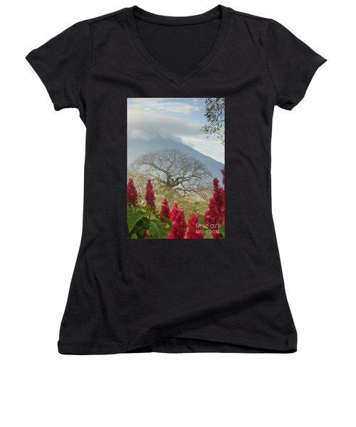 Ometepe Island 1 Women's V-Neck T-Shirt (Junior Cut) by Rudi Prott