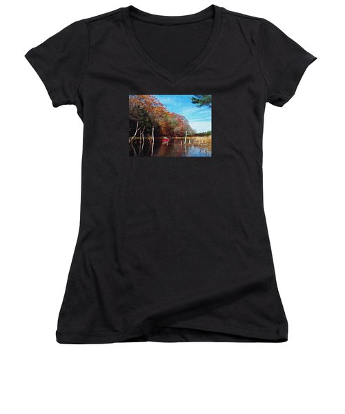 On Schoolhouse Pond Brook Women's V-Neck T-Shirt (Junior Cut) by Joy Nichols