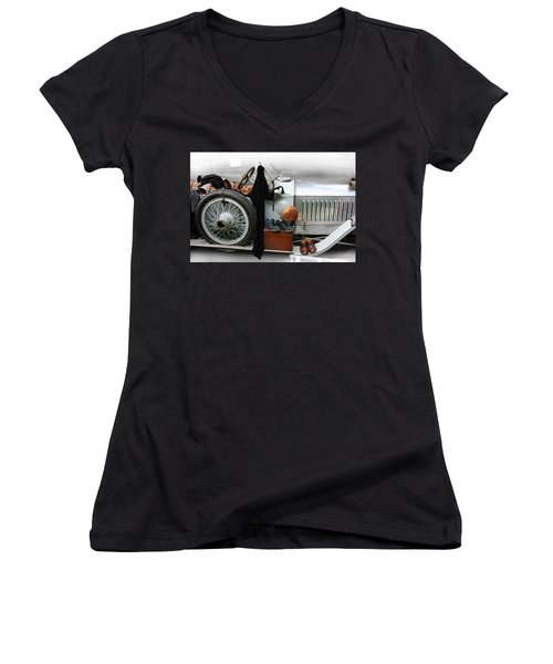 Women's V-Neck T-Shirt (Junior Cut) featuring the photograph On The Road by Leena Pekkalainen