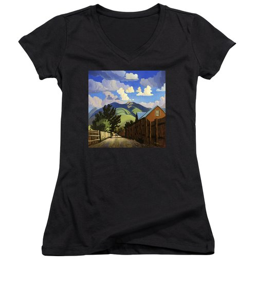 Women's V-Neck T-Shirt (Junior Cut) featuring the painting On The Road To Lili's by Art James West