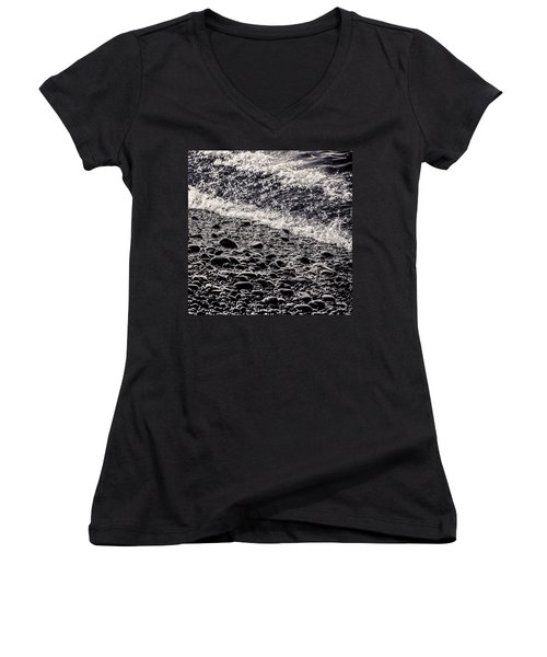On The Rocks  French Beach Square Women's V-Neck T-Shirt (Junior Cut) by Roxy Hurtubise