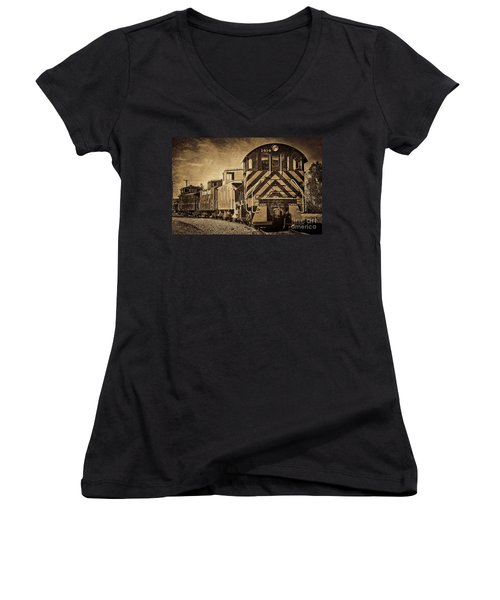 On The Tracks... Take Two. Women's V-Neck T-Shirt (Junior Cut) by Peggy Hughes