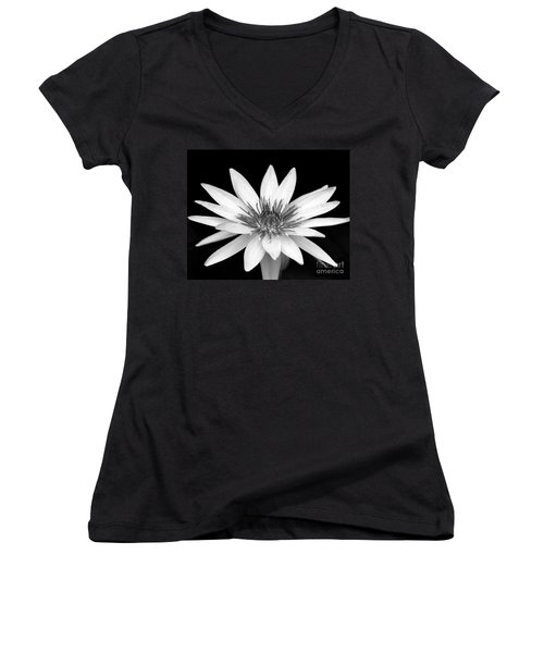 One Black And White Water Lily Women's V-Neck