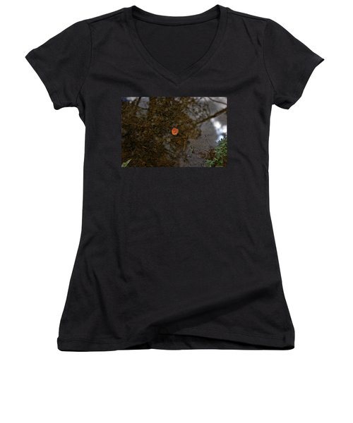 Women's V-Neck T-Shirt (Junior Cut) featuring the photograph One Leaf by Jeremy Rhoades