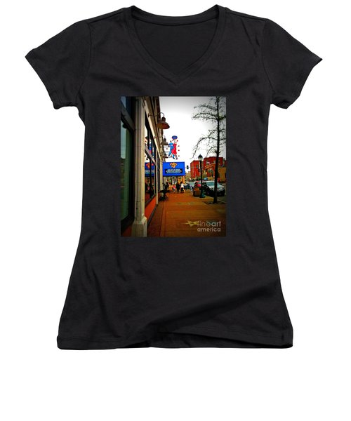 One Of Ten Great Streets Women's V-Neck T-Shirt (Junior Cut) by Kelly Awad