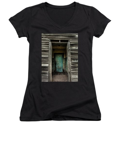 One Room Schoolhouse Door - Damascus - Pennsylvania Women's V-Neck (Athletic Fit)