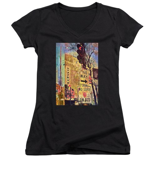 One Way To Uptown Women's V-Neck T-Shirt (Junior Cut) by Susan Stone