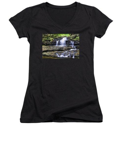 Onondaga Falls Women's V-Neck T-Shirt (Junior Cut)