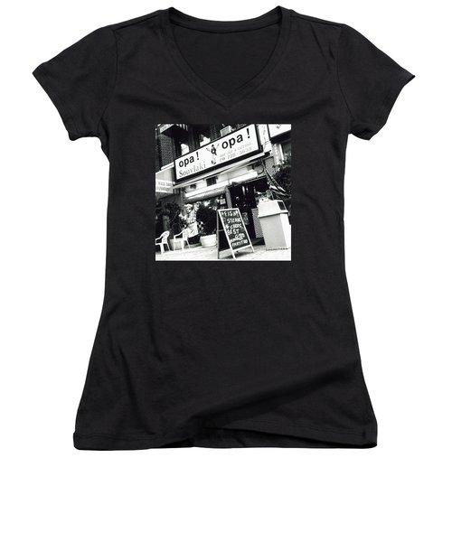 Women's V-Neck T-Shirt (Junior Cut) featuring the photograph Opa Opa by James Aiken