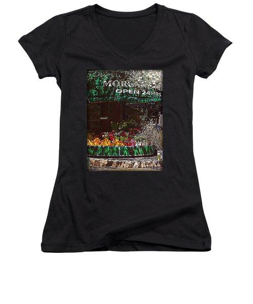 Women's V-Neck T-Shirt (Junior Cut) featuring the photograph Open 24 Hours by Miriam Danar