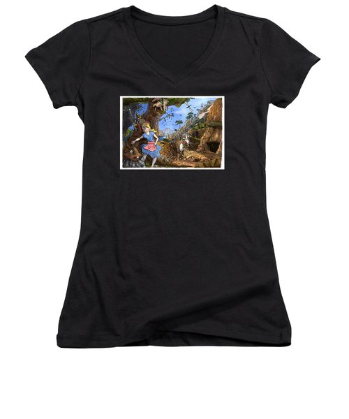 Women's V-Neck T-Shirt (Junior Cut) featuring the painting Open Sesame by Reynold Jay