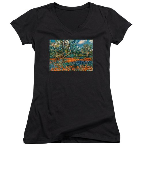 Orange And Blue Flower Field Women's V-Neck