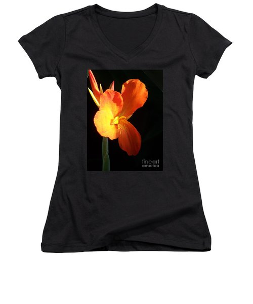 Orange Flower Canna Women's V-Neck T-Shirt (Junior Cut) by Eric  Schiabor