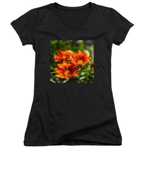 Women's V-Neck T-Shirt (Junior Cut) featuring the photograph Orange Flowers by Jane Luxton