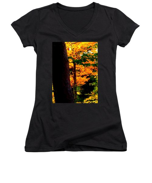 Women's V-Neck T-Shirt (Junior Cut) featuring the photograph Orange Foliage by Denyse Duhaime