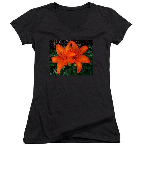 Orange Lilies Women's V-Neck (Athletic Fit)